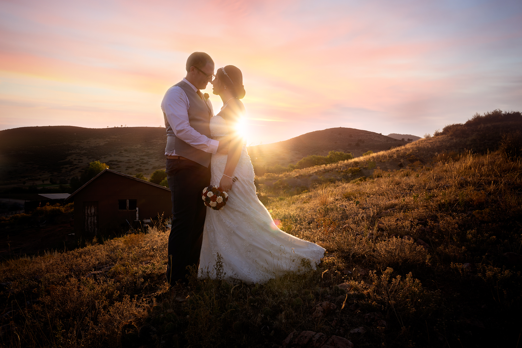 wedding couple at sunset in Colorado