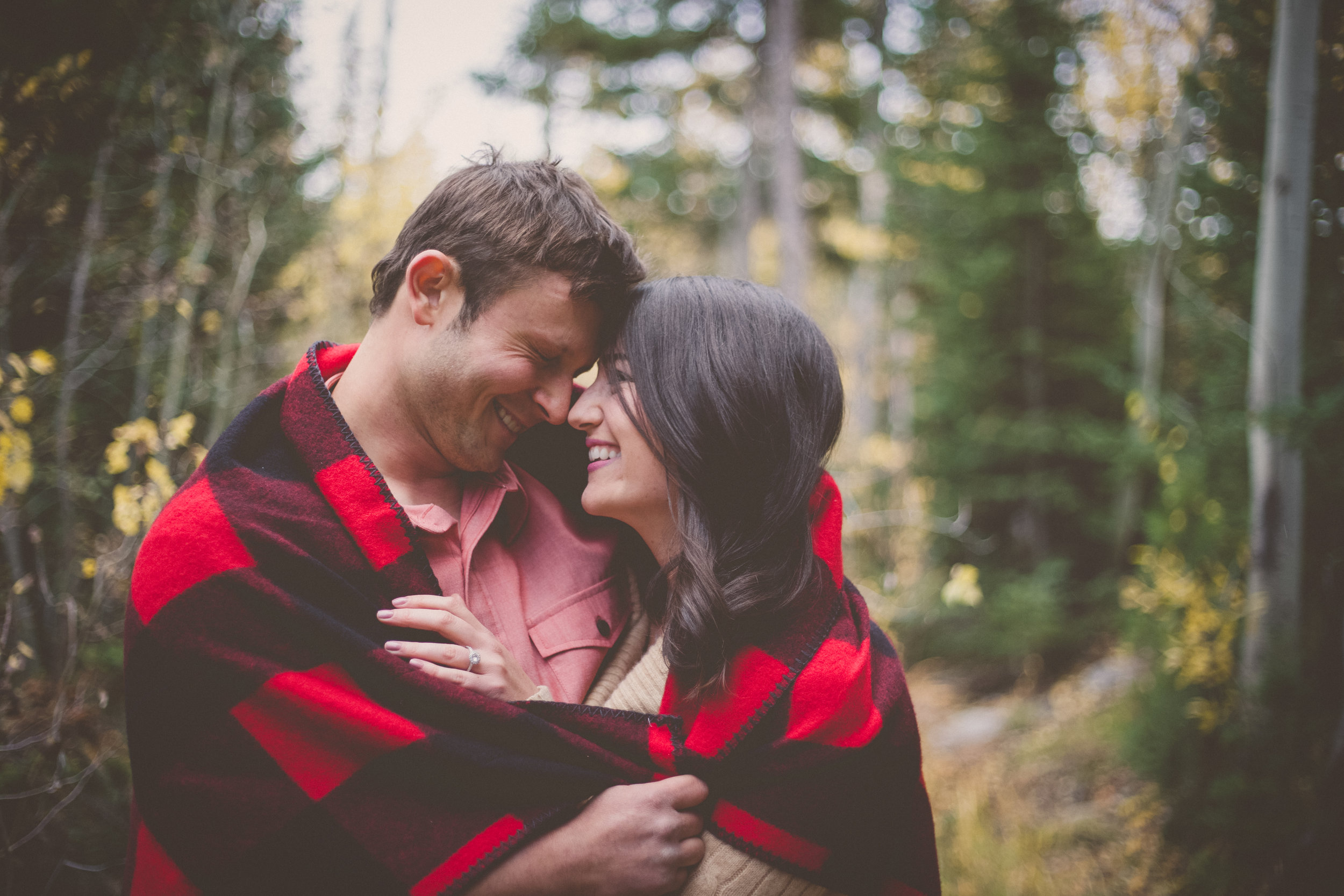 engagement couple in the Rocky Mountains of Wyoming