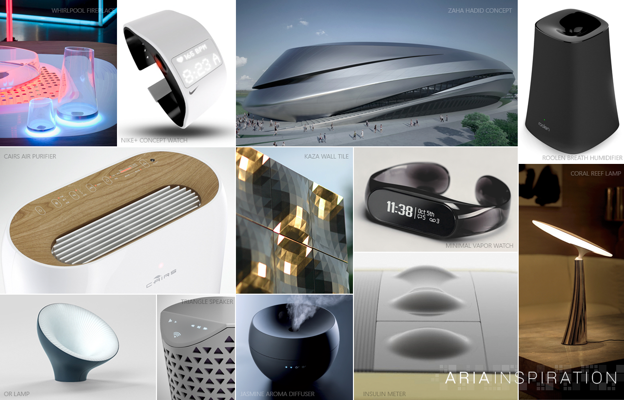 Inspiration - The inspiration for the Allure Aria thermostat came from several design disciplines, such as architecture, jewelry and contemporary interior decor. Combining the innovative design spirit from these various fields was the goal for the Aria's form and design.