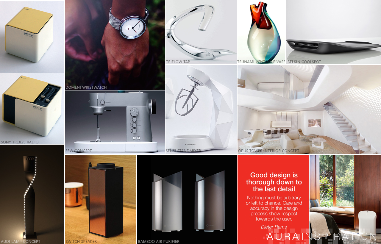 Inspiration - The inspiration for the Allure Aura temperature sensor originated from several design disciplines, such as architecture, jewelry and contemporary home decor. Incorporating design elements from these various forms contributed to Aura's overall design.