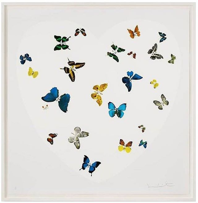 DAMIEN HIRST (b. 1965), Love Is All You Need, 2016, Silkscreen, 63 x 63 inches 🔵 All artwork placed by GLAM, all artwork copyrighted by the Artist  #gregglaneartmanagement #katelaneferraro #modernandcontemporaryart #iminlove #damienhirst