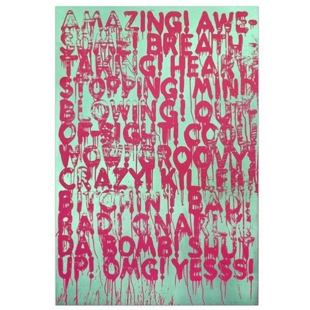 MEL BOCHNER (American b. 1940), Amazing, large scale silkscreen print (fuchsia and opalescent green), 68 1/2 x 47 inches 🔵 all art placed by GLAM, all artwork copyrighted by the Artist  #gregglaneartmanagement #katelaneferraro #modernandcontemporaryart #parkcity #mindblowingart