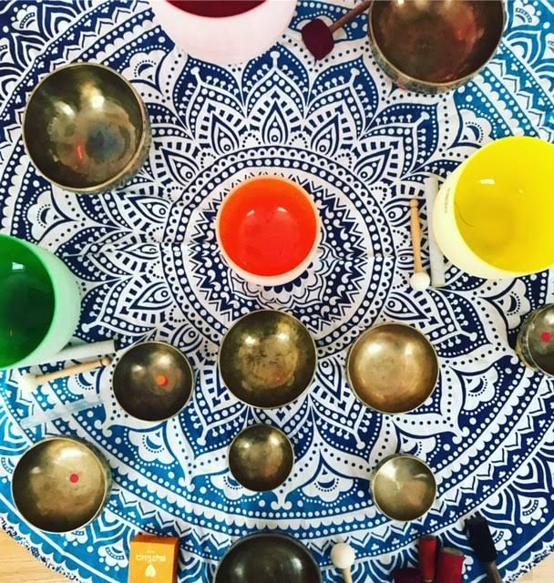 Paiges Crystal Bowls are colored and tuned to the Chakras