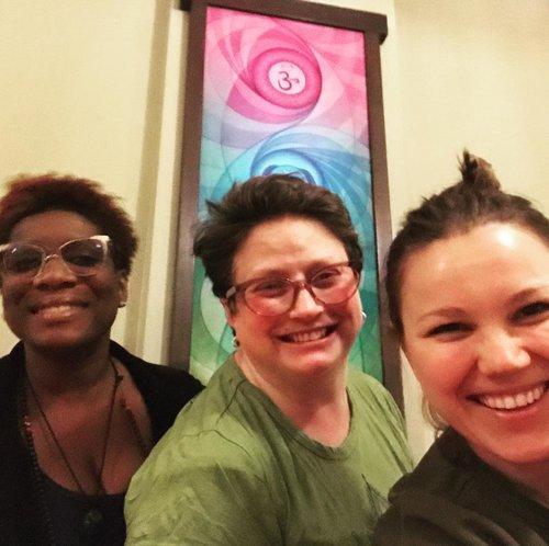 Couple of Yogis (Lola on left and Anya on right) at Yogaworks Alexandria studio - loving community and spirit