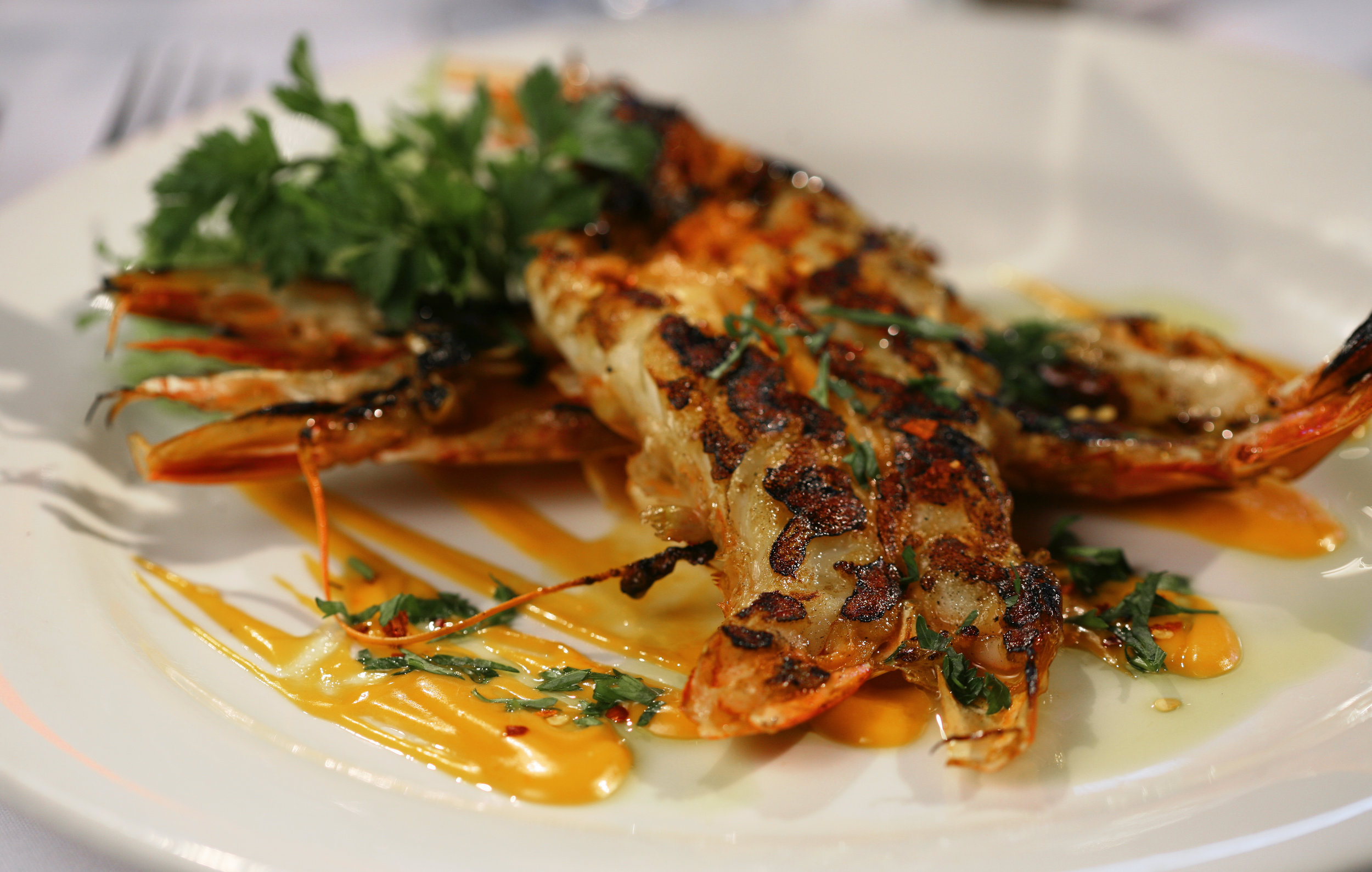 Char-grilled shellfish over a romesco, with olive oil.