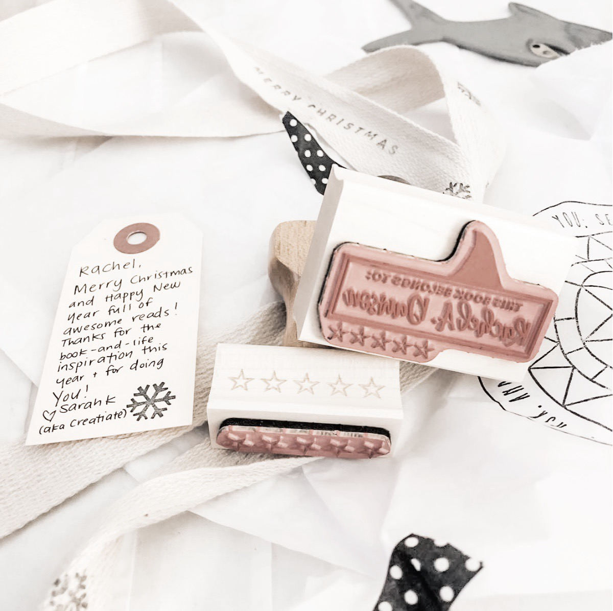 """""""OH MY GOSH I have to rave about  @creatiate  and her incredible talent and amazing heart!!! 😍 I got… the coolest custom book stamp and a five star stamp too and  I'm blown away. """"  ~ @ alltheradreads"""