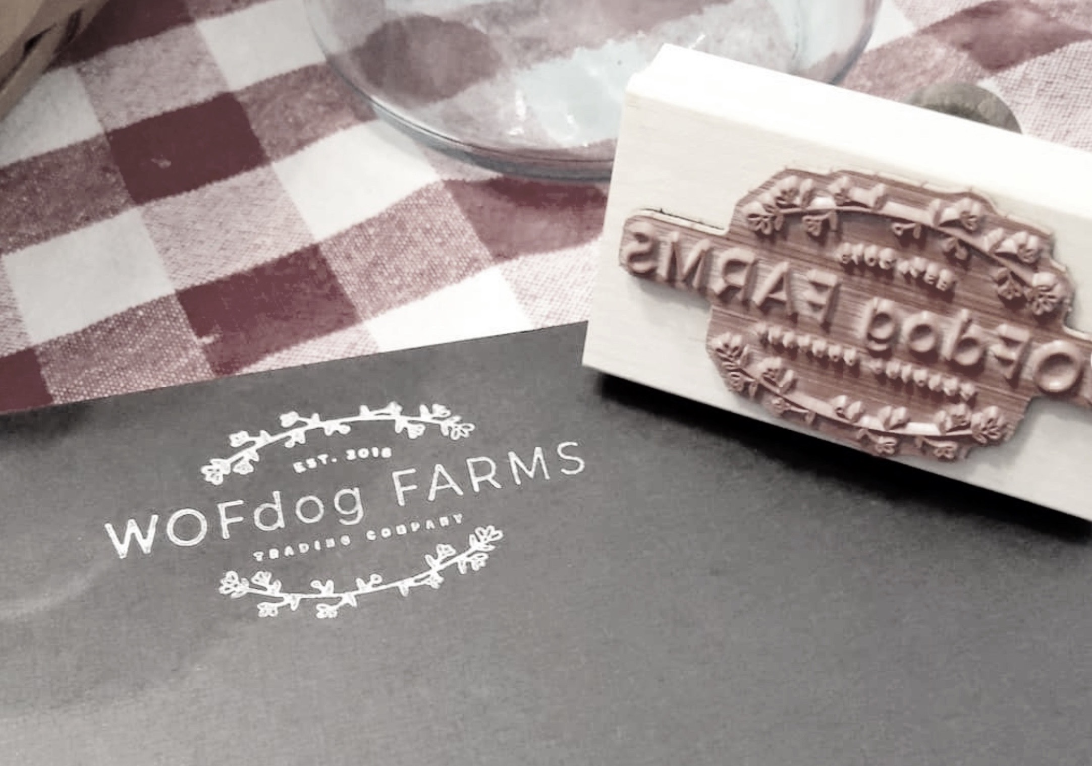 """""""Thank you @creatiate for our new #wofdogfarmstradingco logo stamp.  Now we can customize our packaging - and so much more - in style! """" ~ @ wofdogfarmstradingcompany"""