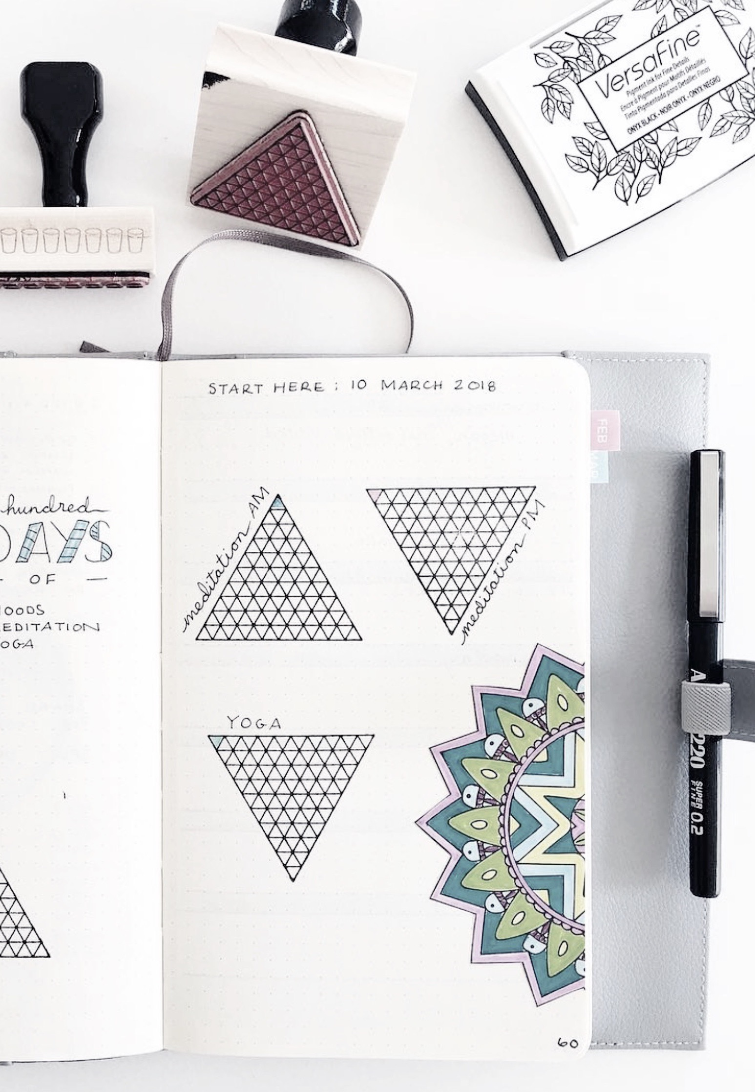 """""""I have created a series of mini habit trackers in my bullet journal using gorgeous habit tracker stamps from @creatiate""""  ~  spaceandquiet"""