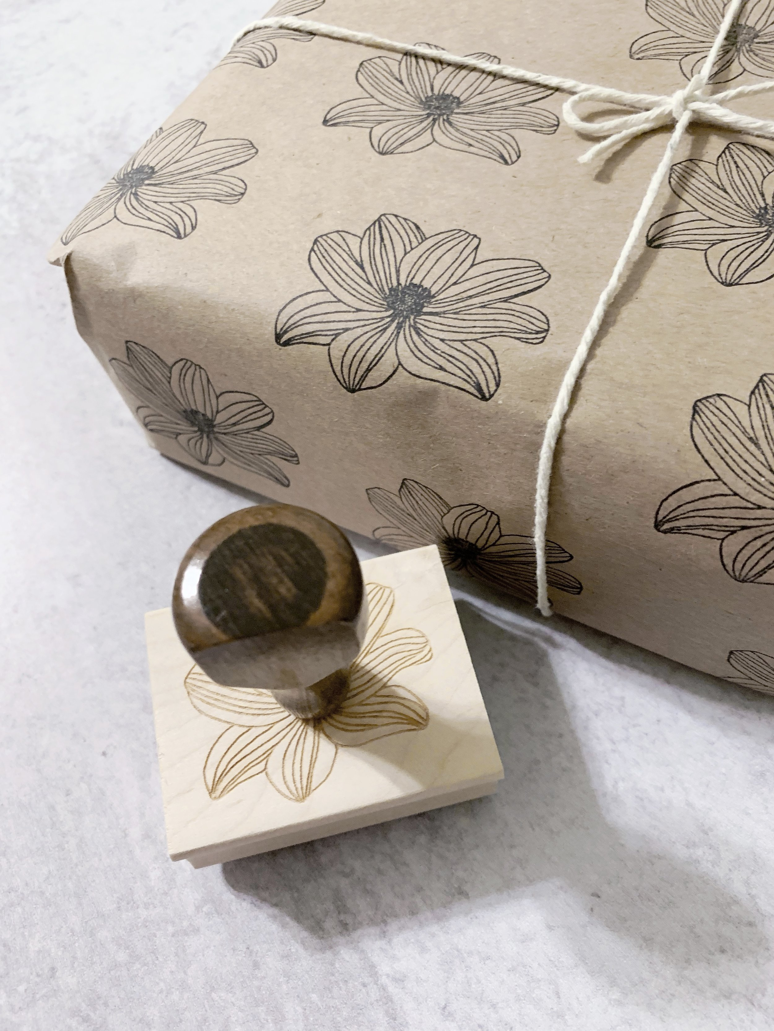 Easy and Affordable Product Packaging- Etsy Packaging - Easy DIY Stamped Floral Gift Wrap - Modern Maker Stamps - Blog