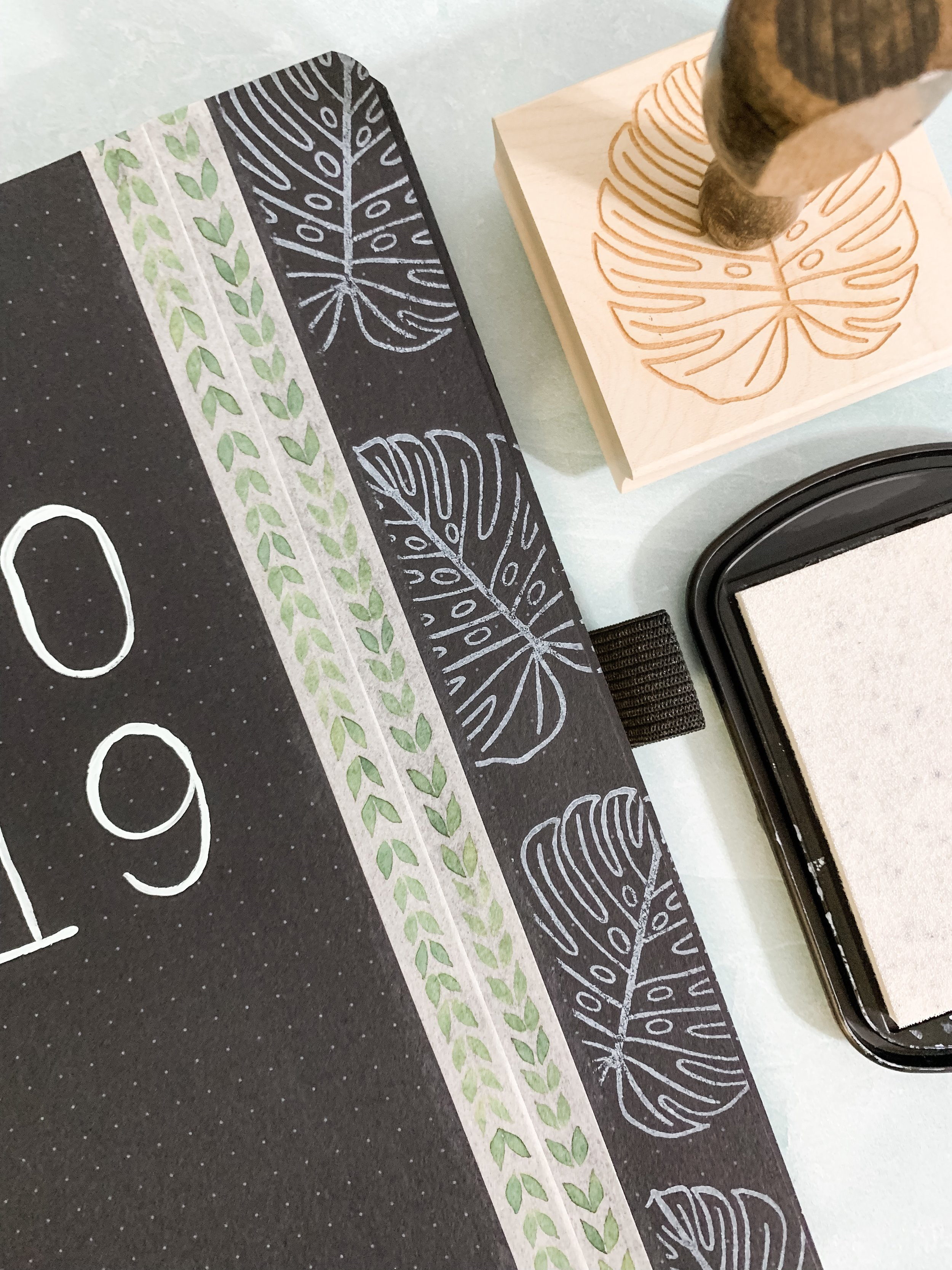 Stamping in your Bullet Journal - Beginning my Blackout Book