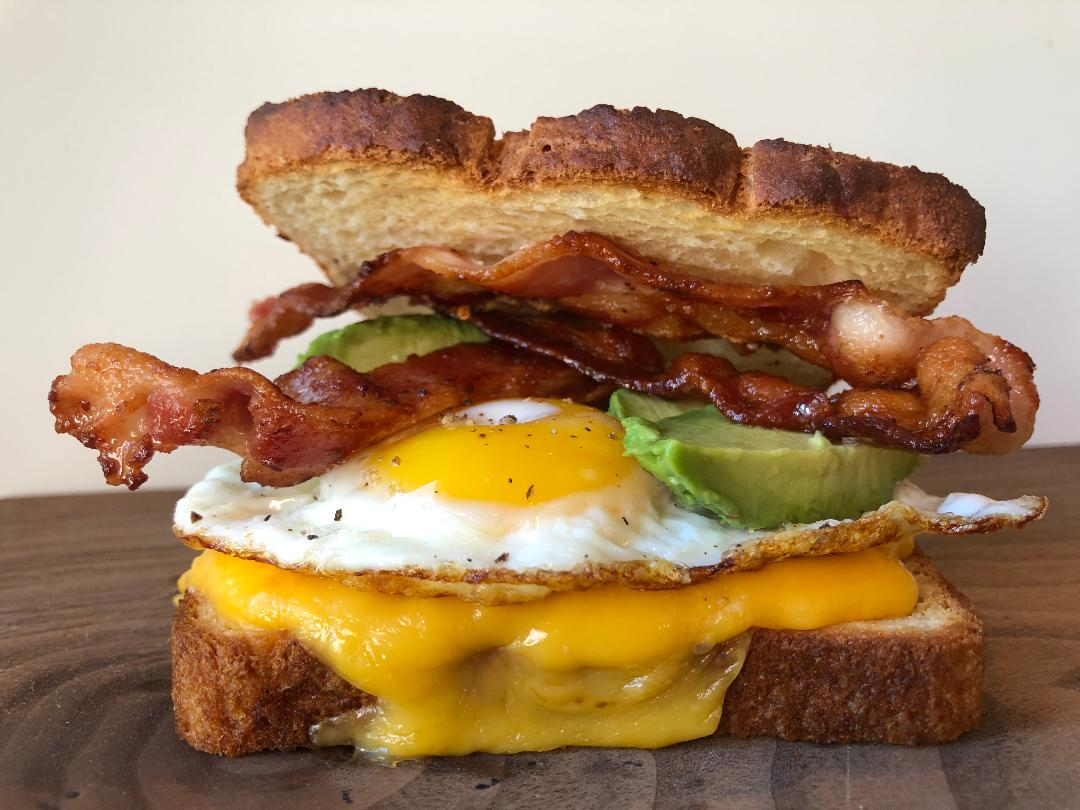 DRM Egg & Cheese Breakfast Sandwich with Bacon & Avocado on Gluten Free Bread