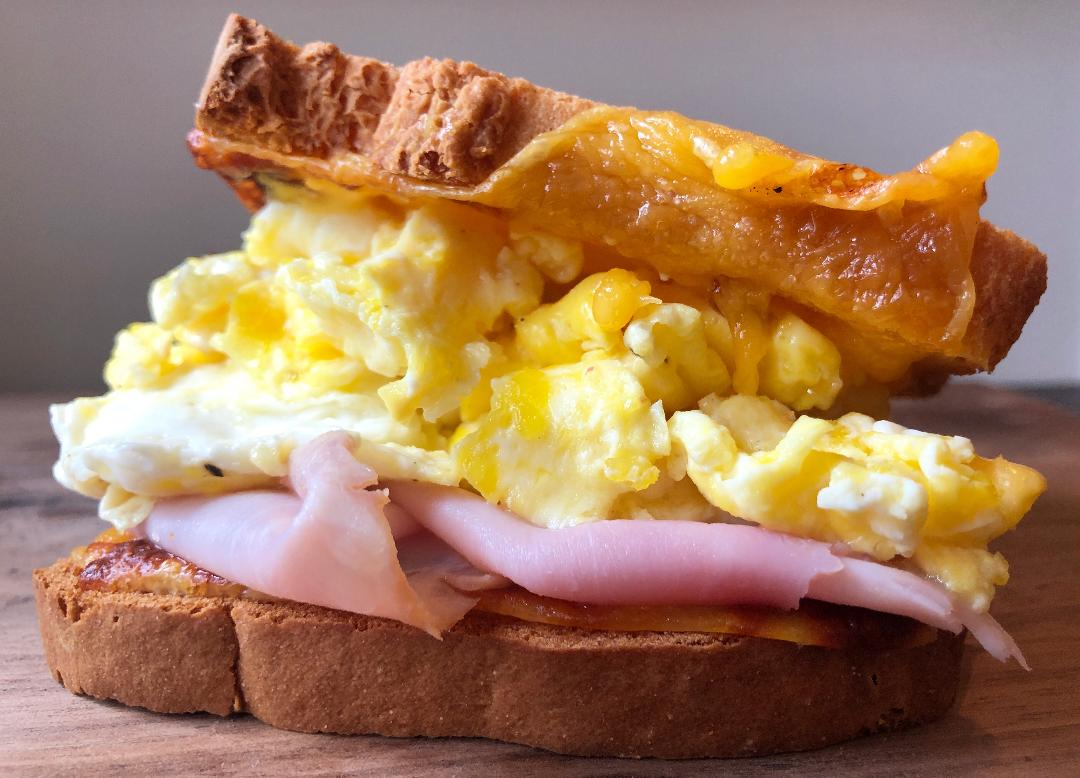 DRM Egg & Cheese Sandwich with Smoked Polish Ham on GF Bread