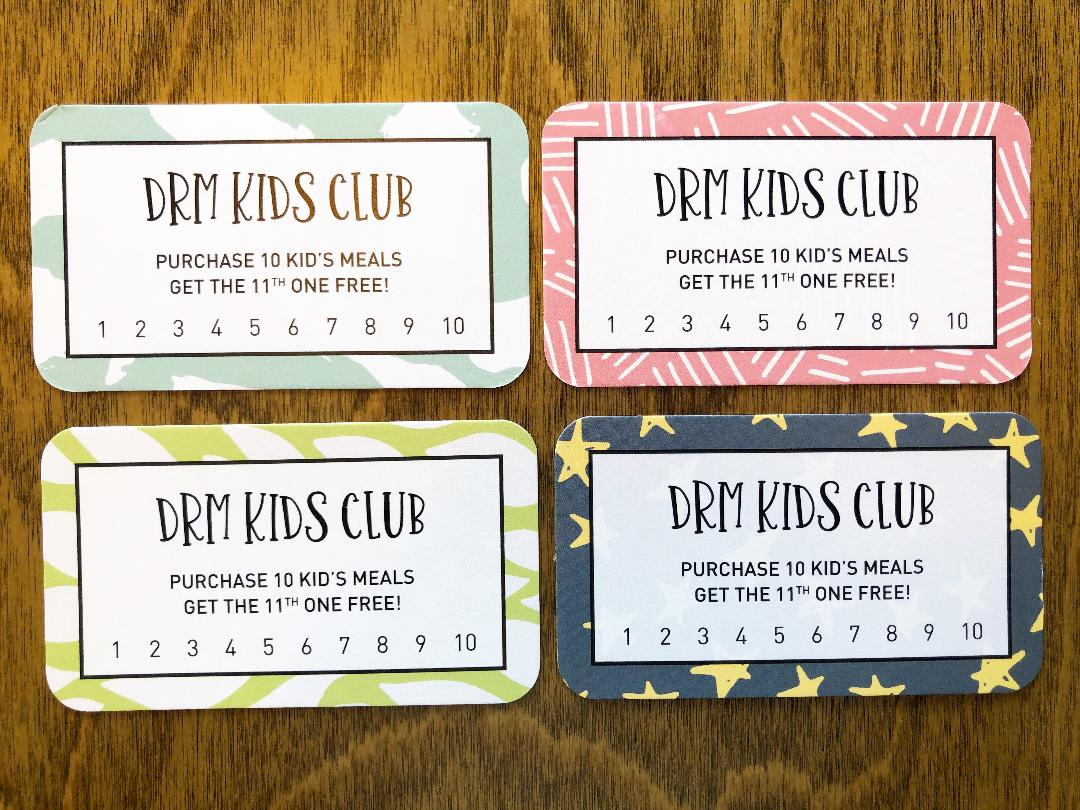 DRM Kids Club Punch Cards. Pick them up at the register.
