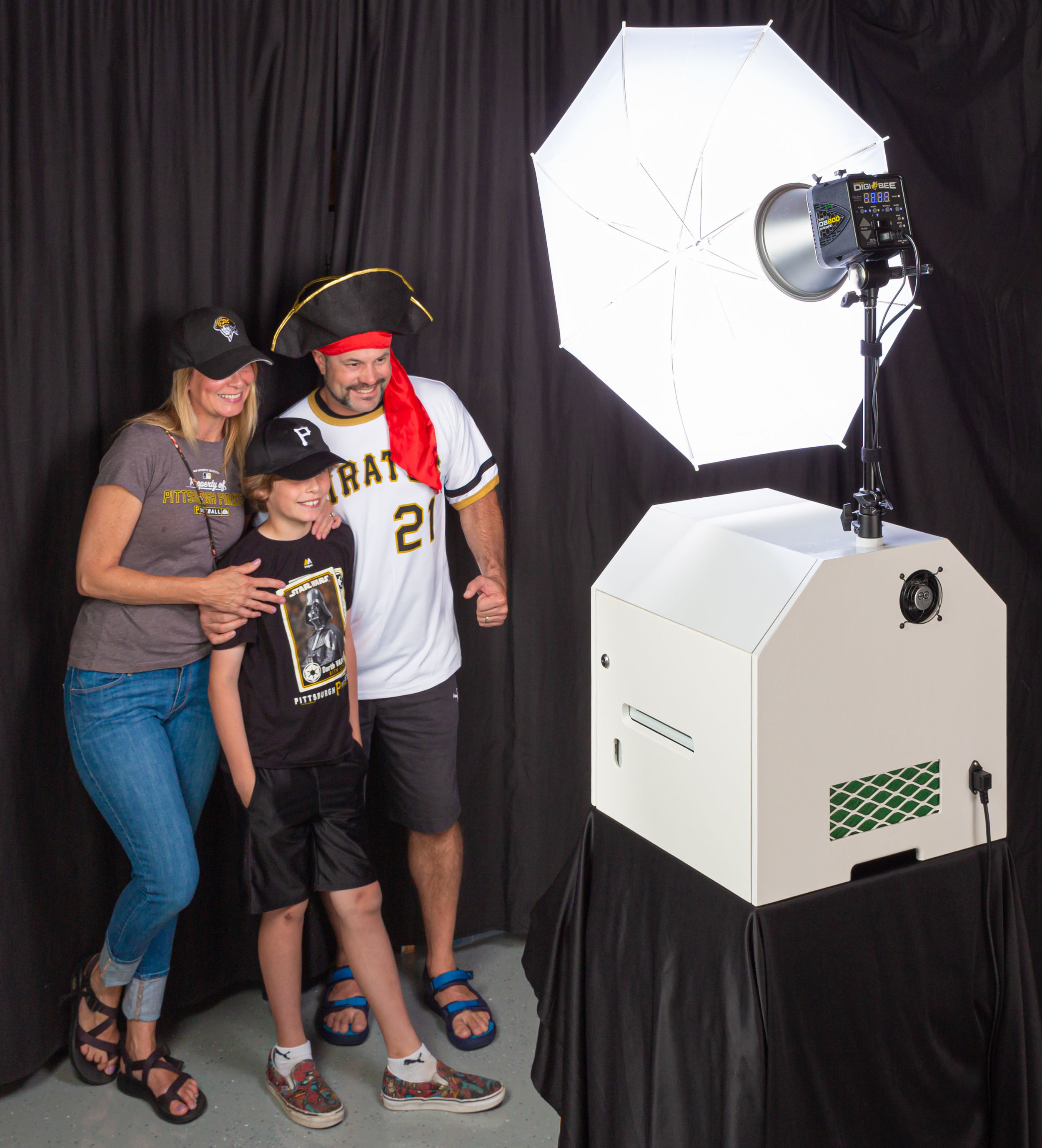 The PLAYHOUSE photo booth - We use an open-air photo booth which means the booth machine is separate from the backdrop. This gives more room for guests, allows more people in the photos, and attracts more attention!It also means you can choose the backdrop, decorations, and event banners for your photo backgrounds.