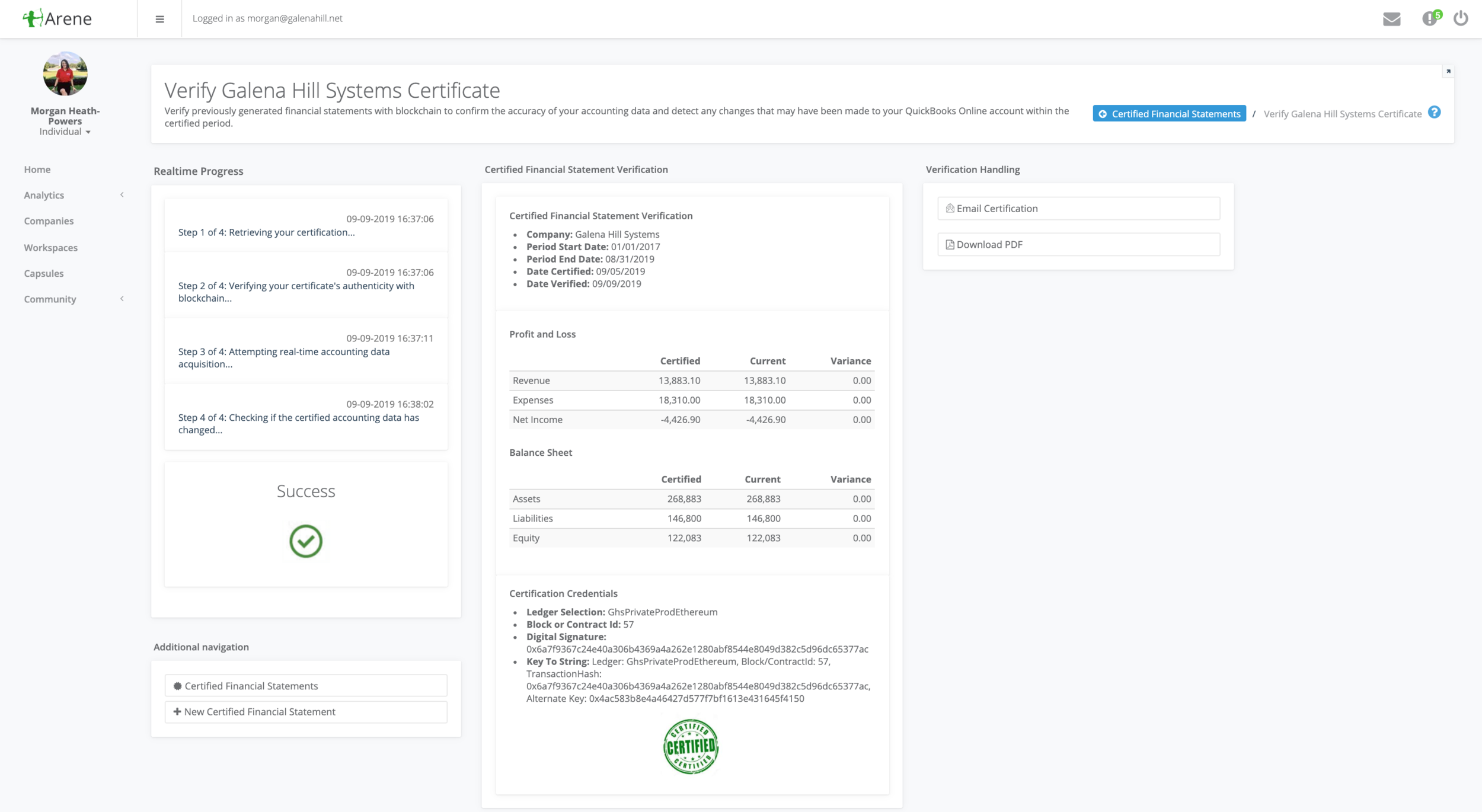 Generate  blockchain-certified financial statements   (Patent Pending)  that may be re-verified at any point in time. Share this tamperproof snapshot of your businesses' financial health with bankers, auditors, investors, and more.