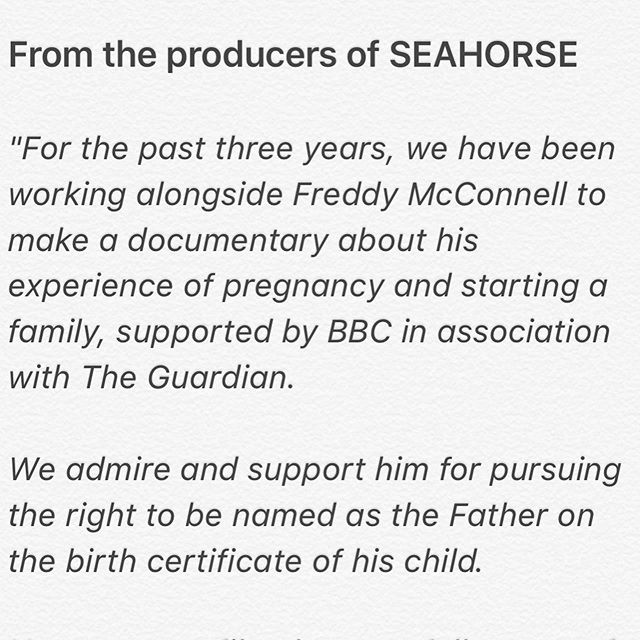 Statement from all of us @seahorsefilm in support of @freddy.mcconnell  #freddymcconnell #TransRightsAreHumanRights #TransIsBeautiful #seahorsedad #seahorsefilm #grainmedia #jeaniefinlay