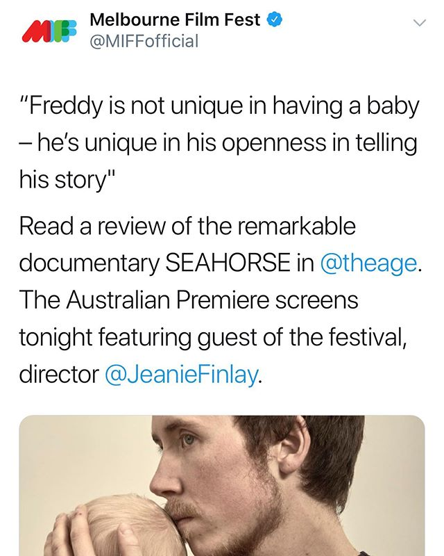 "Ahead of the Australian premiere of @seahorsefilm at @melbfilmfest in tonight @freddy.mcconnell and @jeaniefinlay spoke to @sydneymorningherald and @theageaustralia about making the film.  They call the film ""remarkable... unflinching"". Screening tonight, 6 August 9.15pm Hoyts & 8 Aug with Director Q&A. Tickets: http://miff.com.au/program/film/seahorse  #miff2019 #trans #transisbeautiful #lgbtqmelbourne #melbournepride #lgbtqaustralia #lgbtaustralia #transmelbourne"