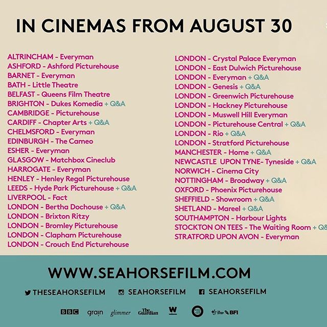 So many screenings, lots with Q&As - @seahorsefilm coming to cinemas very soon!  Tickets: www.seahorsefilm.com  Don't see a screening near you? set up your own @ourscreen screening - ourscreen.com/film/Seahorse #seahorsefilm #transisbeautiful  Please share far & wide. See you in the cinema! #femalefilmmakerfriday