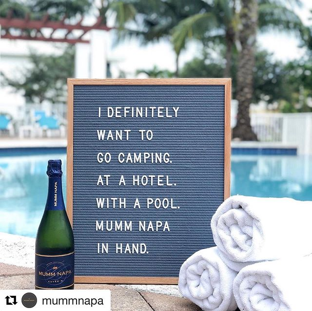 """Our sentiments EXACTLY, Mumm. Now this is the type of """"camping"""" we love!  #Repost @mummnapa with @get_repost ・・・ Who wants to go """"camping"""" with us? We'll bring the sparkling.   . . . . . #MummNapa #Camping #Glamping #Poolside #VacayVibes #VacationMode #BetterWithBubbles #SparklingWine #HomeAwayFromHome #ExploreMore #CampingVibes #CampingStyle"""