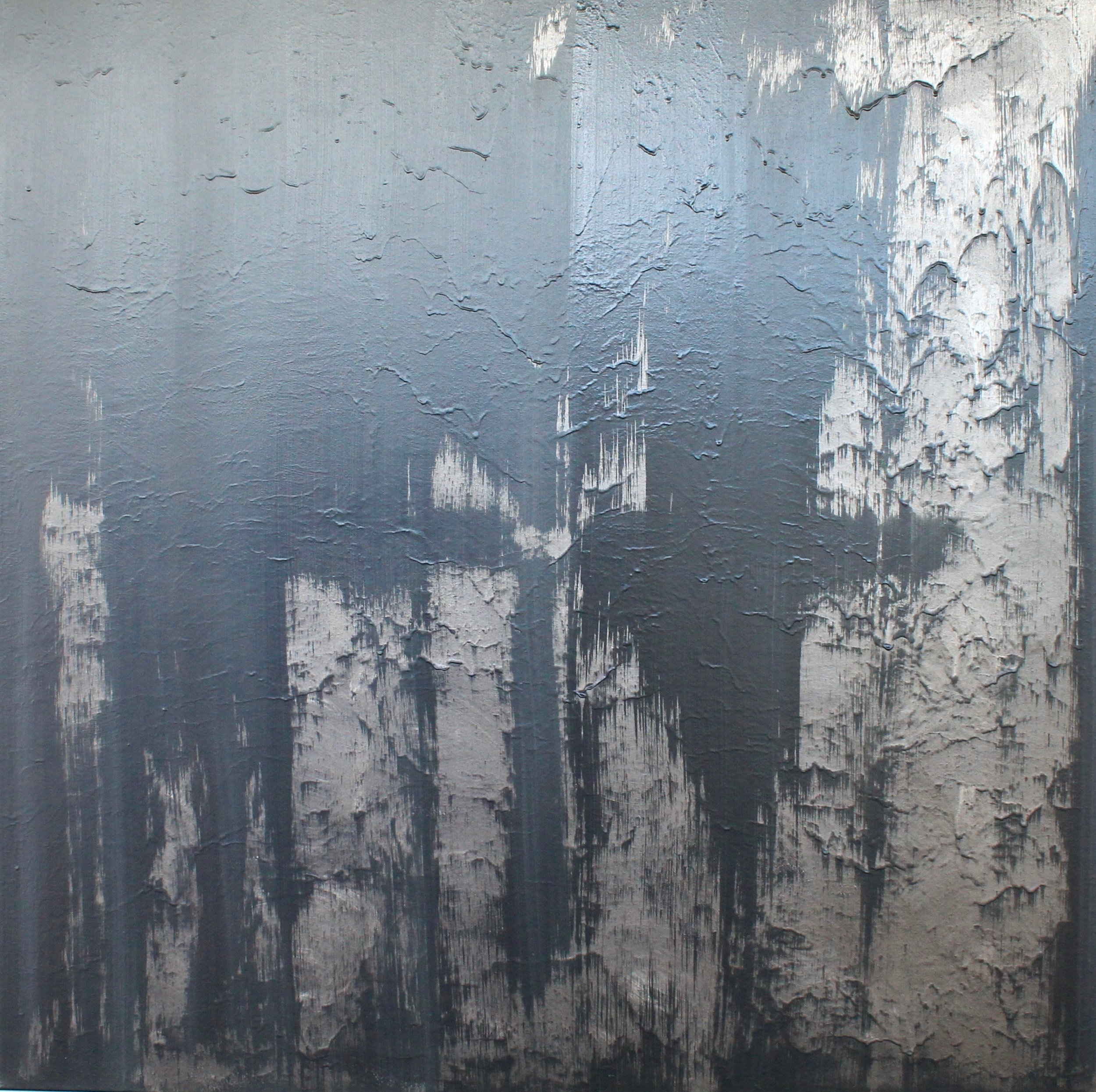 IN GOOD TIME - 1200mm x 1200mmMixed media on canvas. Textured metallic space grey, charcoal & black.