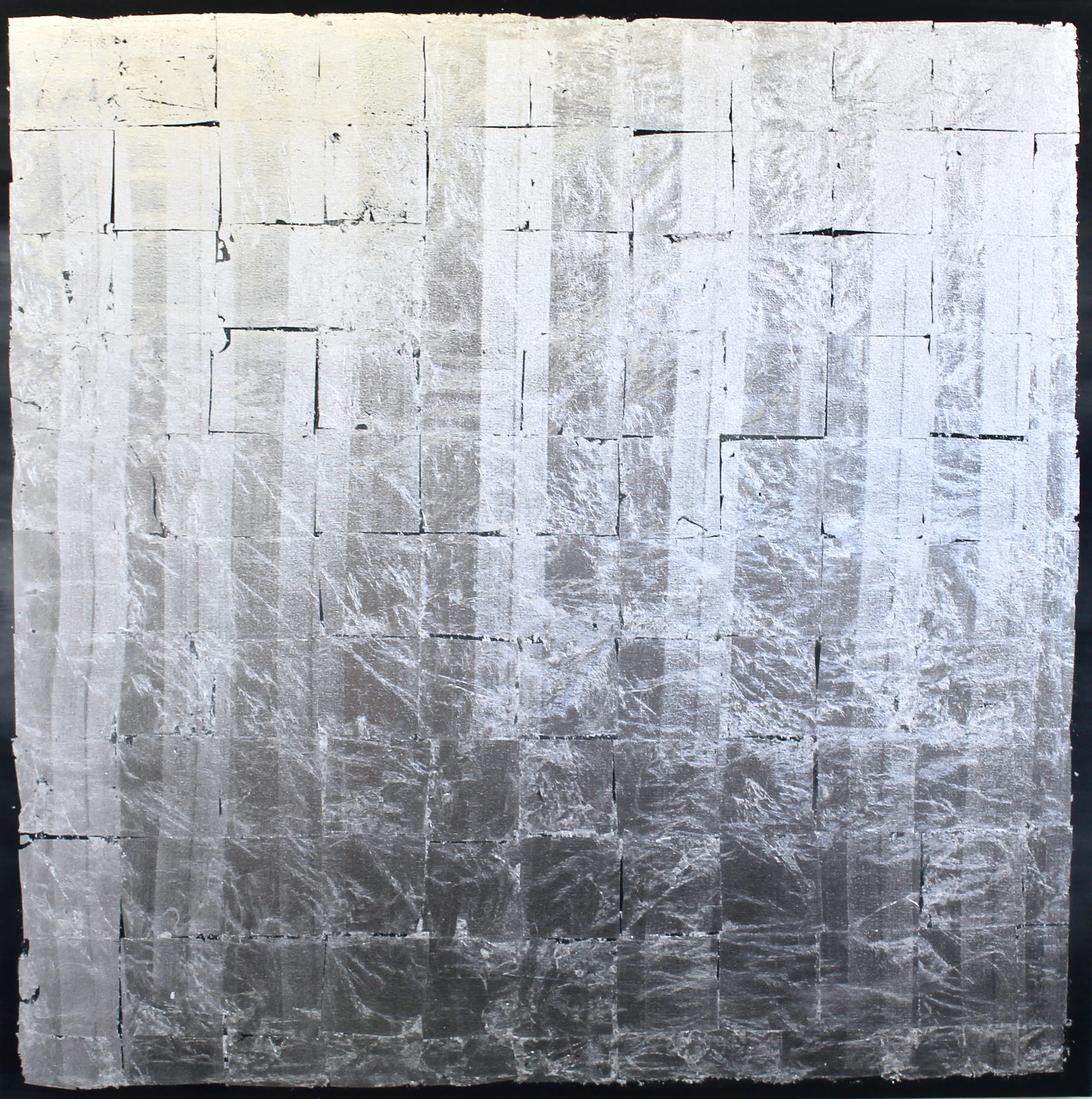 SILVER LINING - 1500mm x 1500mm (This is the size available in showroom, but can be made to any size)Charcoal acrylic & silver leaf on canvas.