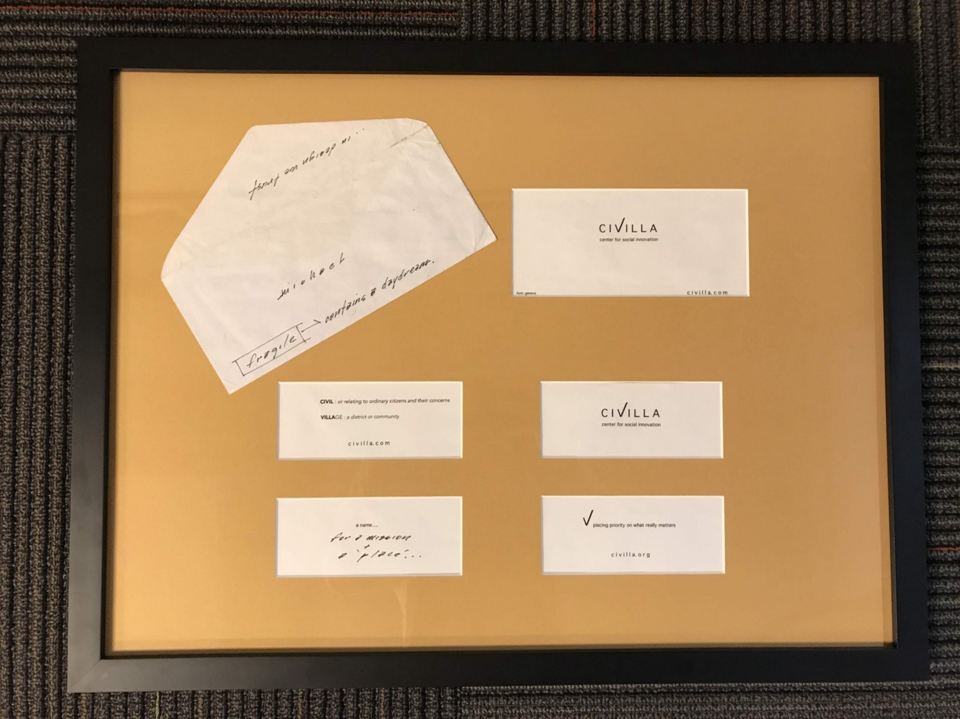 The original envelope Paul Seibert gave to Mike Brennan, our CEO, revealing the name he had dreamt up for the organization that would become Civilla.