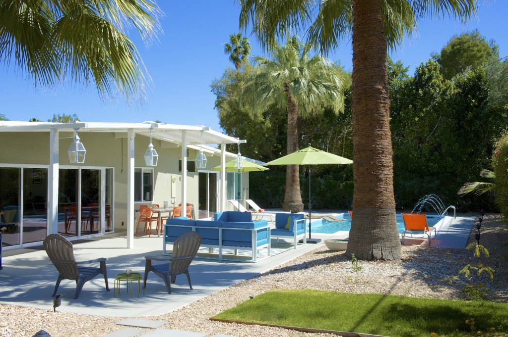 Private backyard, palm springs vacation rental, midcentury modern home