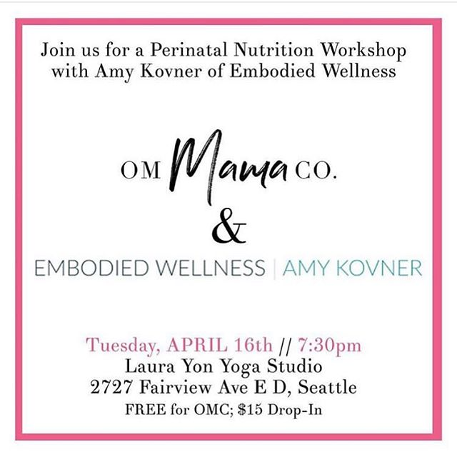 Come join me with @ommamaco tomorrow evening for an informative and fun conversation about pregnancy and postpartum nutrition!