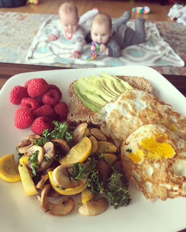 Feeling like I nailed breakfast this morning! Mike took Maya to preschool early and the babies slept late, so I had some (RARE!) uninterrupted time to cook up a yummy breakfast for myself: sautéed mushroom, yellow squash and kale with fried eggs, avocado toast and raspberries. **not pictured- so much COFFEE!  #breakfast #morningeats #nourishment #nourishingfood #nourishing #breastfeedingmama #wellness #nutrition #selfcare #foodie #embodiedwellness #foodfeelsgood #maternalwellness