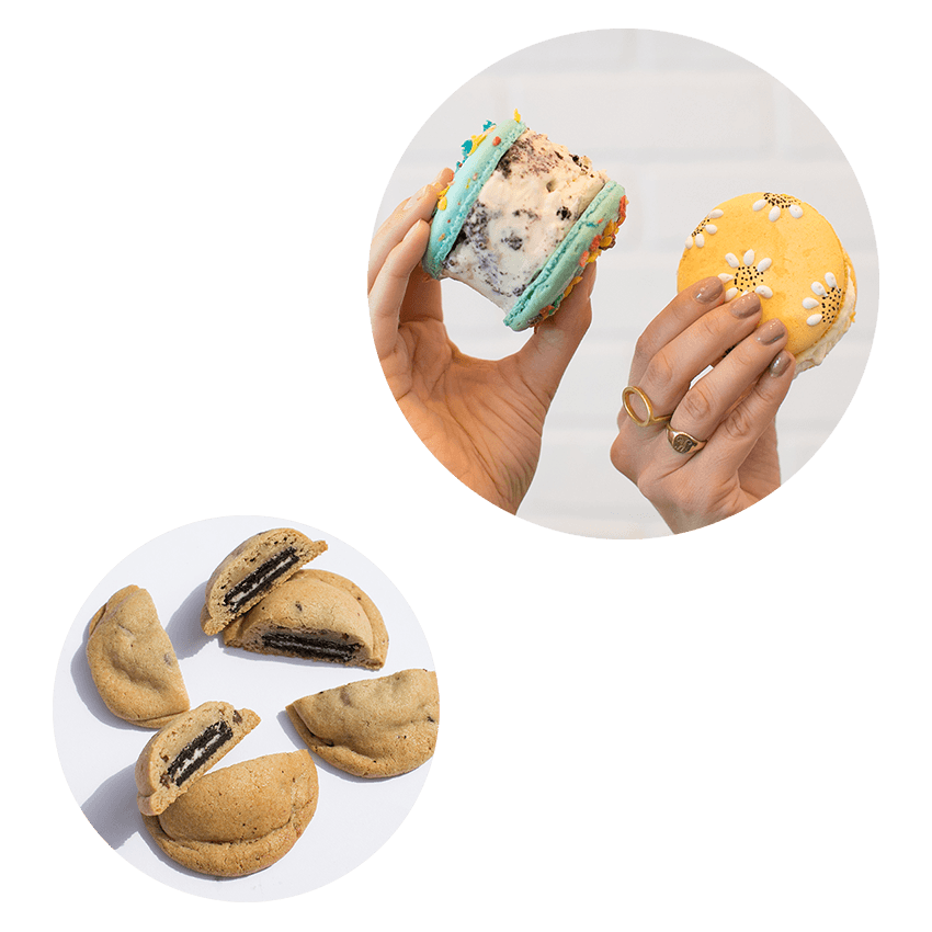 Our Bites - Macarons and cookies handmade from scratch from the finest ingredients. Select locations have the options of customizable giant macaron ice cream sandwiches, oreo stuffed cookies, and mini macarons filled with ganache.