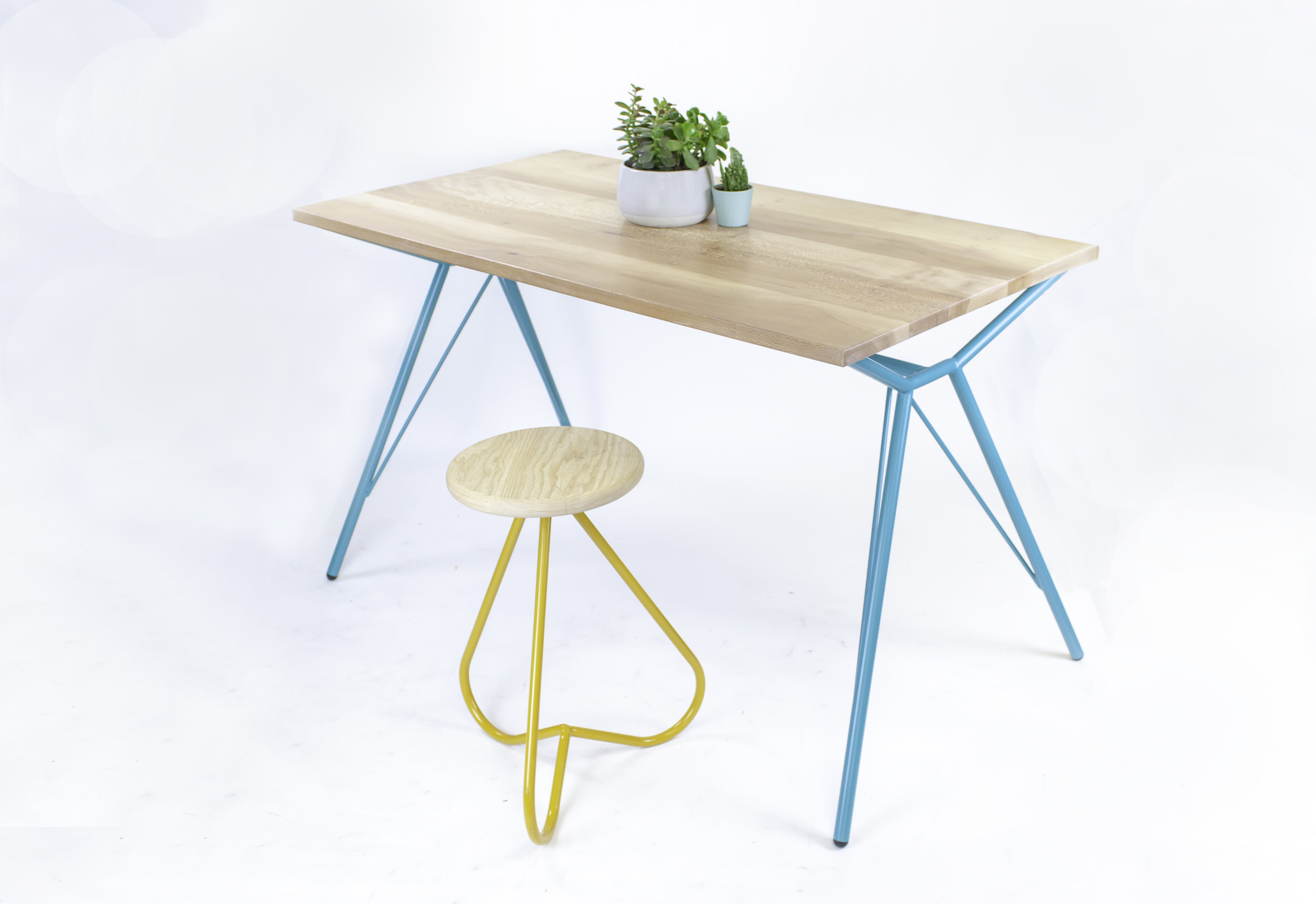 Yarmouth Crescent | Dinning Table | Designed in collaboration with Architect Alex Hill | Steel Tube and London Plane, Stool by RichCraft