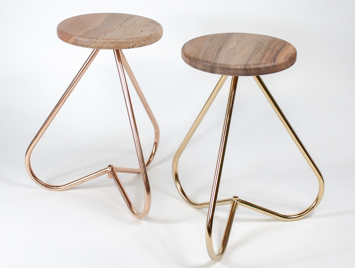 (Left) 24ct Rose Gold and London Plane Stool (Right) 24ct Gold and Walnut Stool | 40 x 40 x 47 (cm) | £650 each