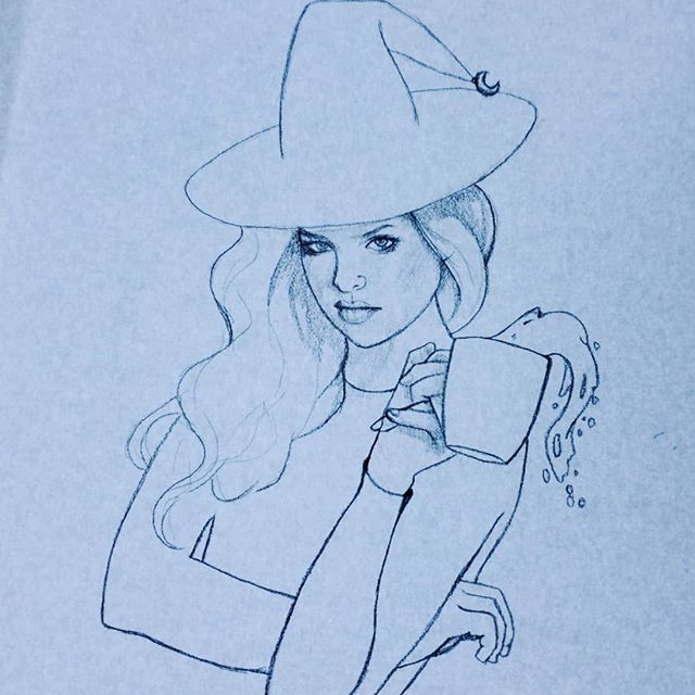 Spill the tea, sis.  #witchythings #witchstagram #witchesofinstagram #witchytattoo #witchyvibes #witchaesthetic #witch🔮 #drawing #pencilsketches #sketchbook #sketch_dailydose #drawing✏