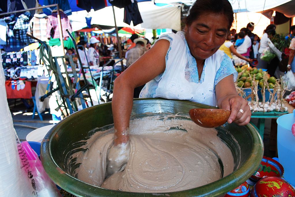 The tejate paste before finishing making it.