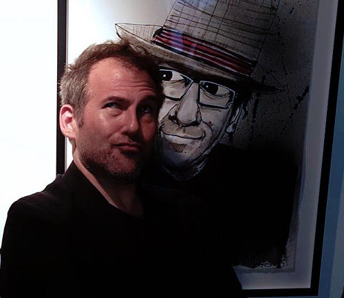 Joey pictured next to his Elvis Costello Portrait