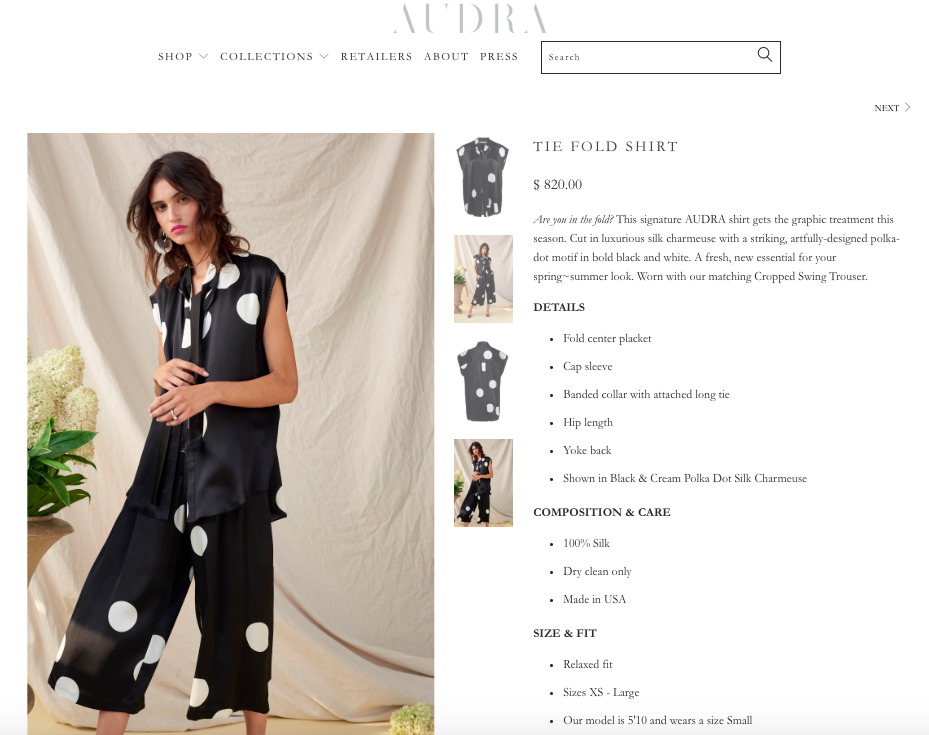 ecomm product copy / audra
