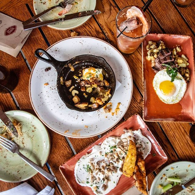 When it comes to eating 80-20, Sunday brunch usually falls into the 20% for me. And I'm OK with that! Gypsy Kitchen (@gypsykitchenatl) has a new brunch service, and it is 👌🤤 If you're nursing a hangover on a Sunday morning, get you some poutine and migas, and you'll feel better immediately. Btw, this photo is courtesy of the super talented @collin.rooney! . . . #spanishtapas #migas #steakandeggs #poutine #bloodymarybar #sundaybrunch #atlbrunch #atlantabrunch  #brunching #brunchtime #buzzfeast #beautifulcuisines #eeeeeats #zagat #dailyfoodfeed #forkfeed #heresmyfood #atlfoodie #atlantarestaurants #eateratlanta #exploreatl #buckhead #buckheadatlanta #bestfoodatlanta #annafeasts #brunchwithfriends #eatwithfriends