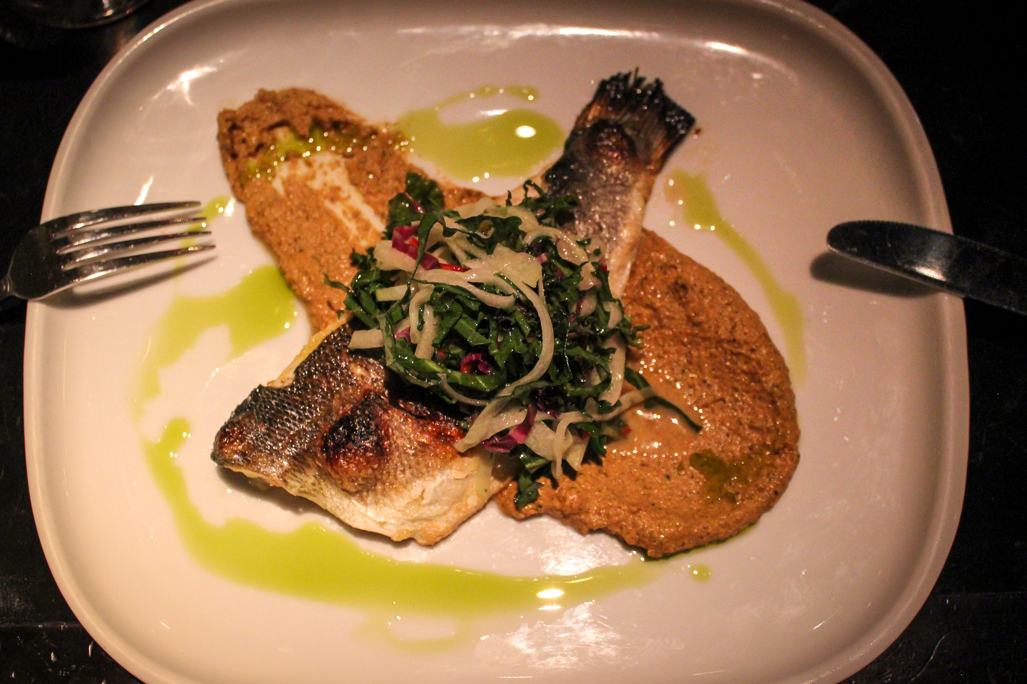 Bronzino at Two Urban Licks: Perfectly roasted and served over a bed of pepito puree (c) Anna Lanfreschi