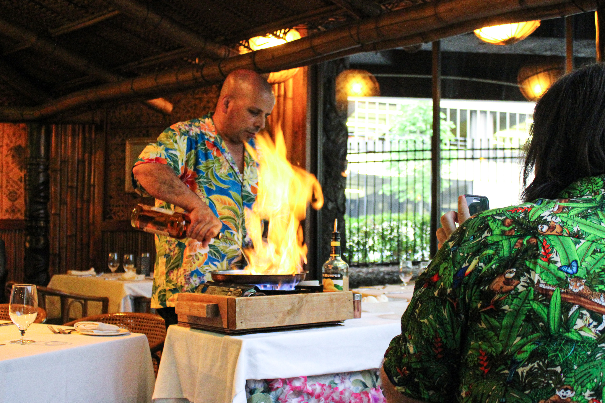 Bananas foster being prepared table-side at Trader Vic's in Atlanta (c) Anna Lanfreschi