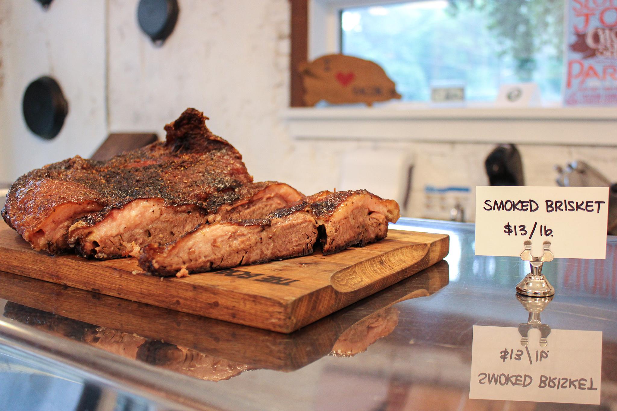 Smoked brisket made on the premises at Chop Shop (c) Anna Lanfreschi