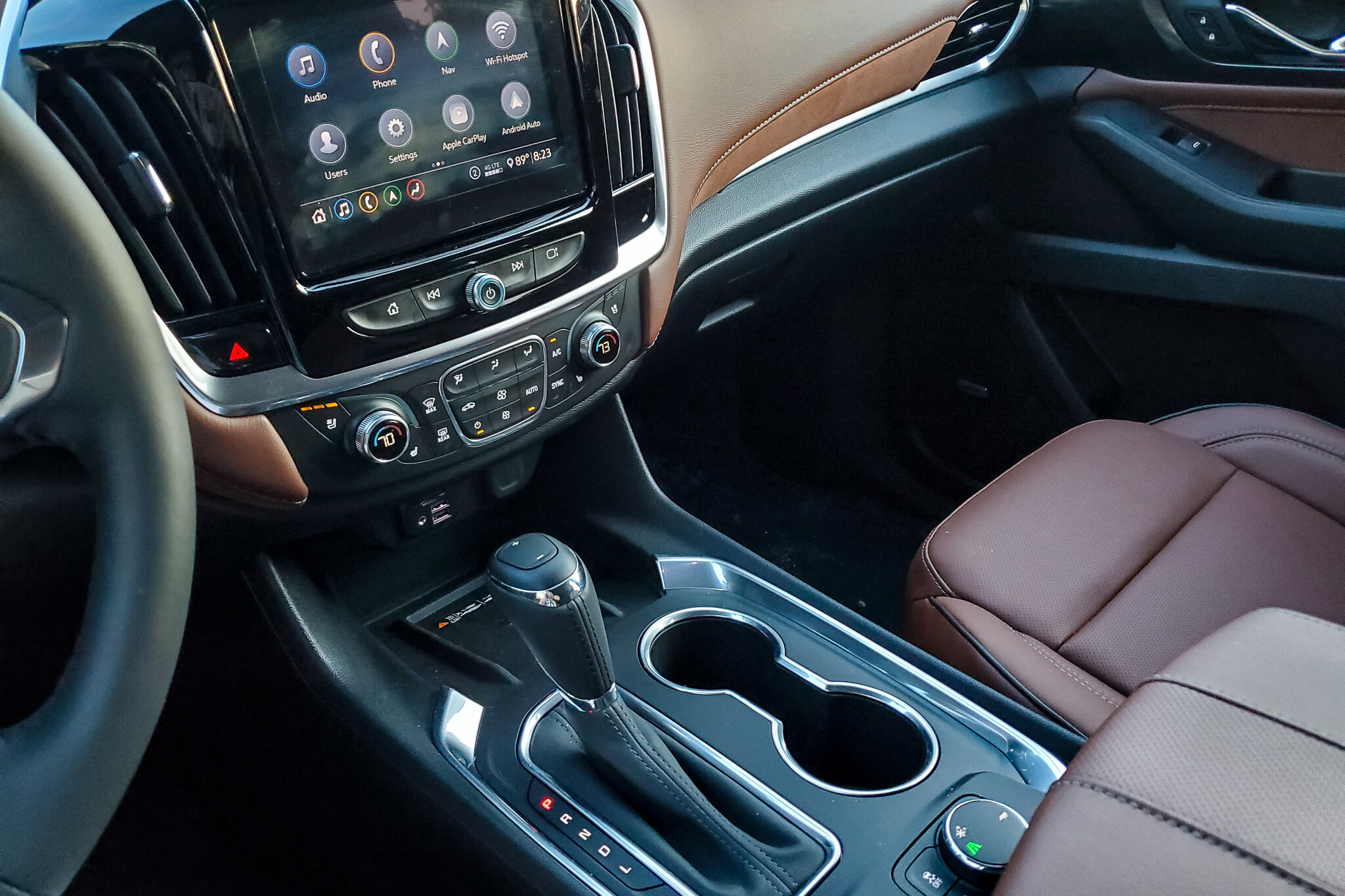 The wireless phone charging station inside the 2019 Chevy Traverse, just under the temperature controls (c) Anna Lanfreschi