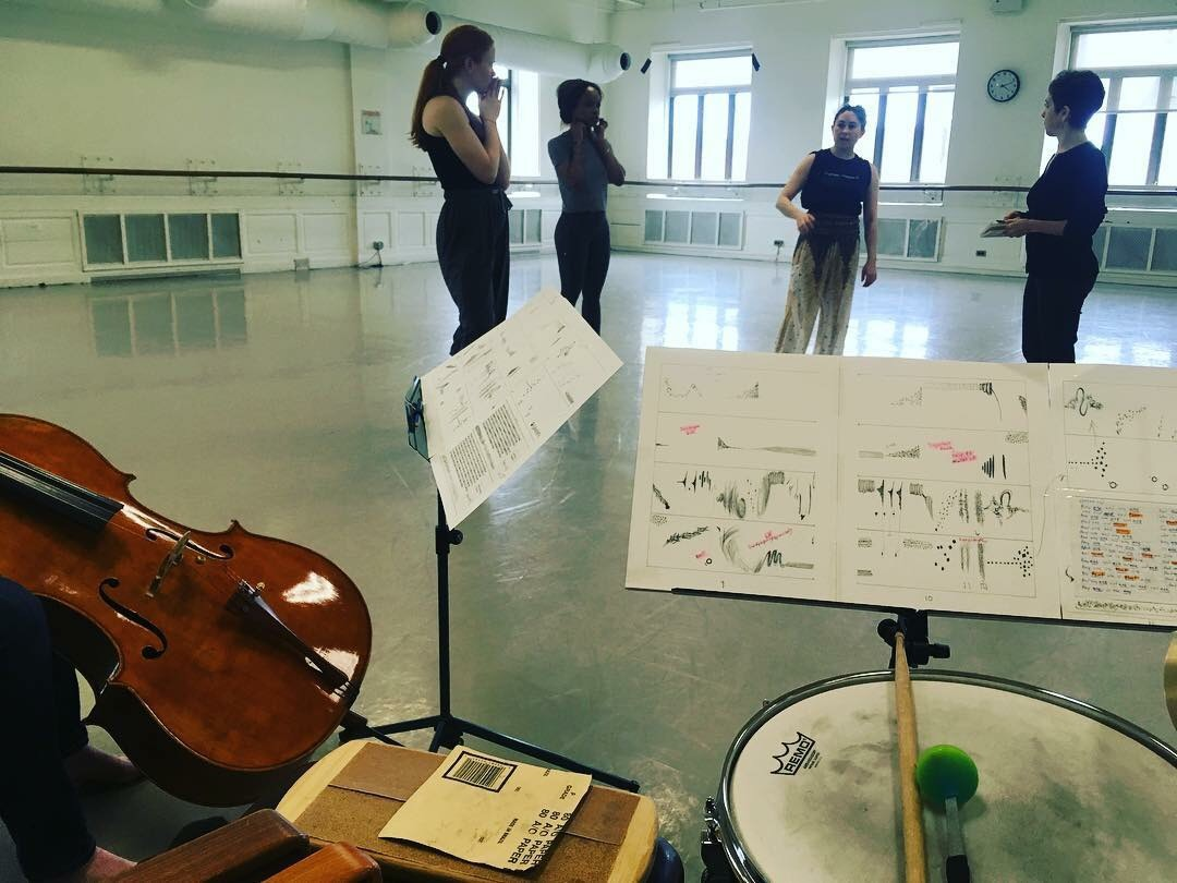 "Rehearsing choreographer Janis Brenner, and composer Leah Asher's ""she was not needing to be changing"" with Periapsis Music & Dance"