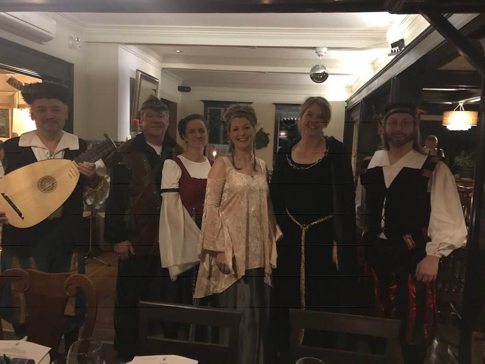 Bob Park, Derek Beaton, Nicole Handford, Tracy Fehr, Heather Allen and Jay Demetrick serenaded guests at Bogner's recent Mid-Winter Medieval Feast