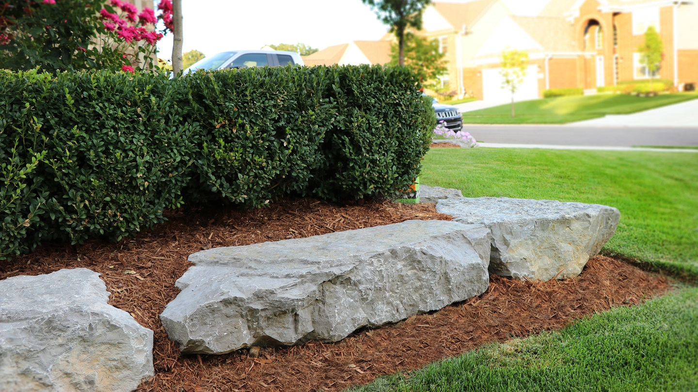 Bloomfield Township MI landscape design with quality boulders