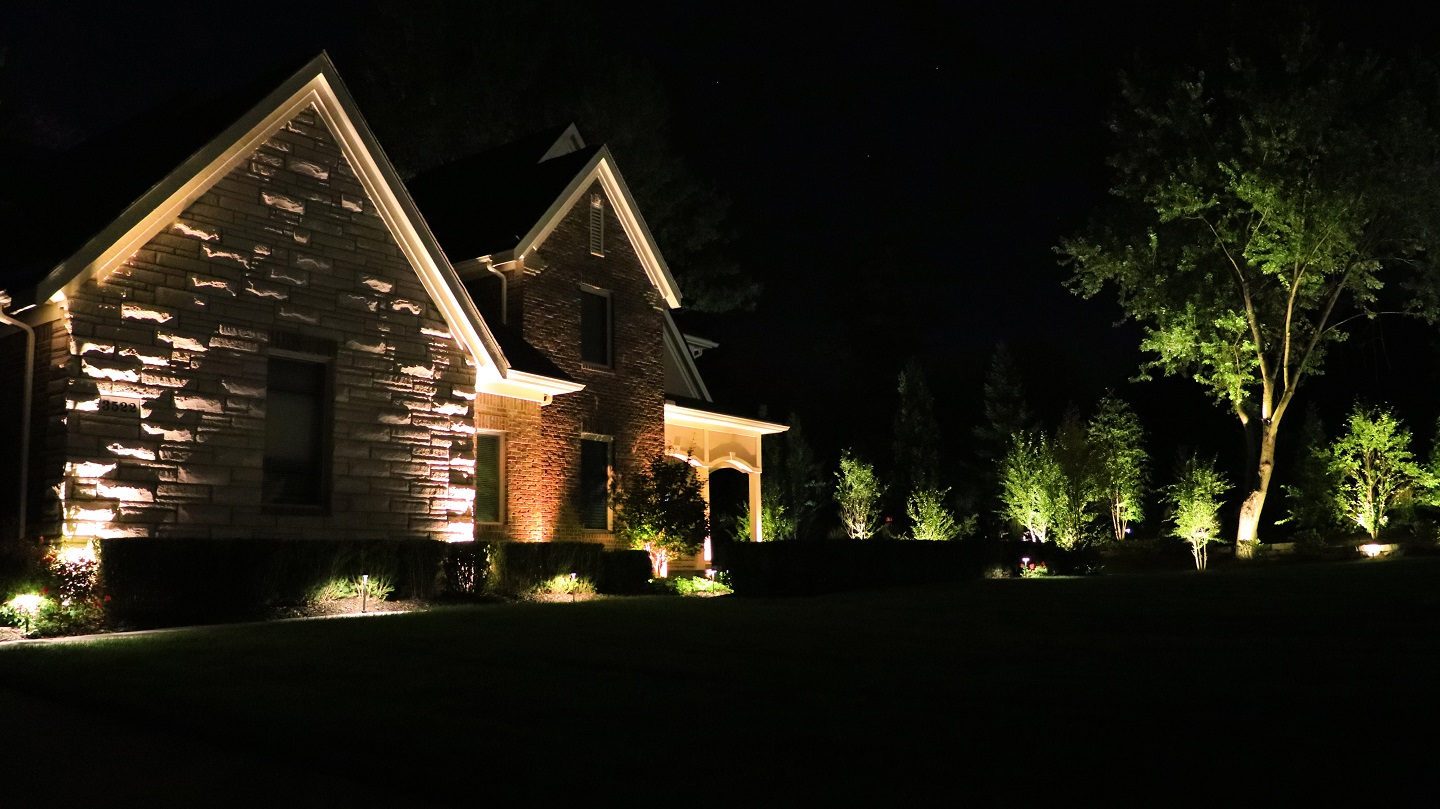 Landscape design in Grosse Pointe MI with outdoor lighting