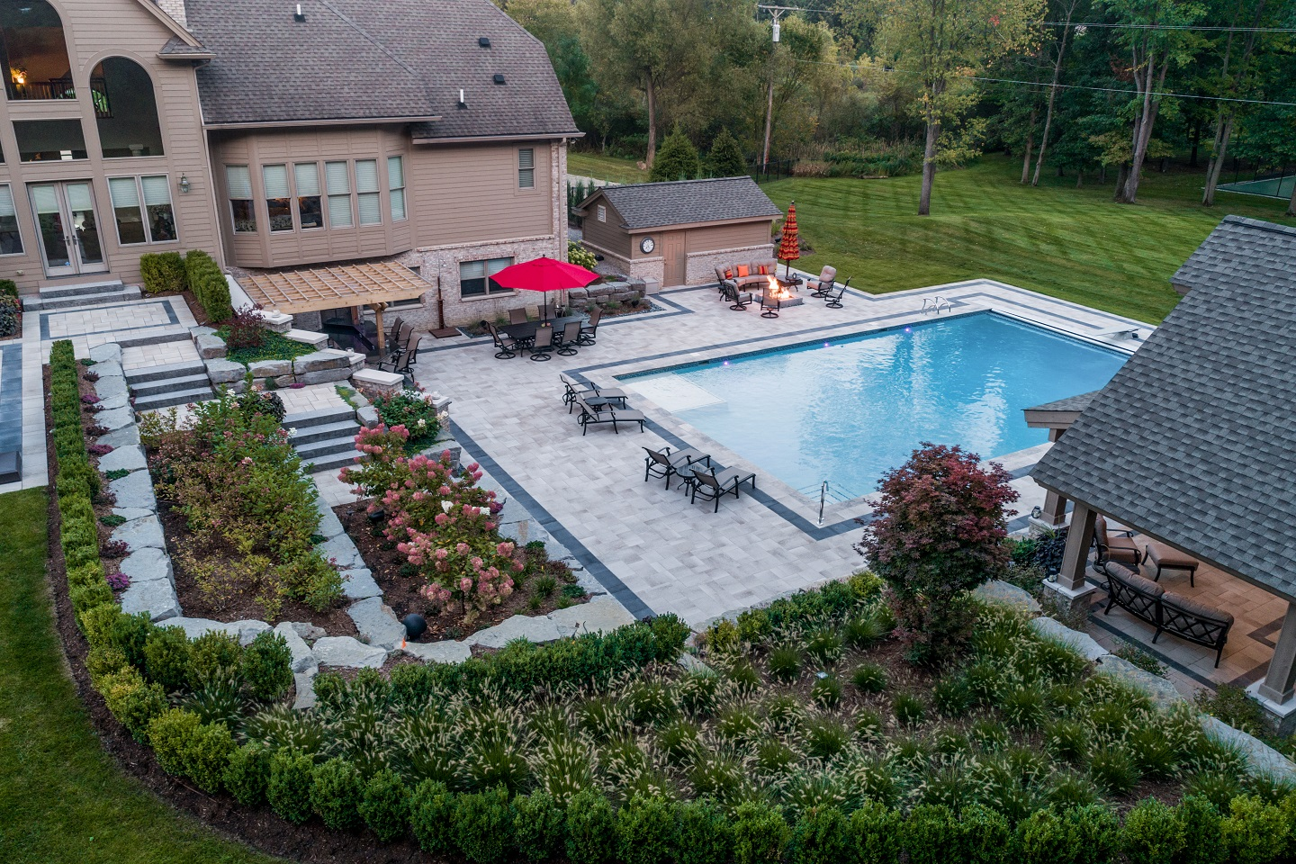 Landscape design in West Bloomfield MI with top shrub planting