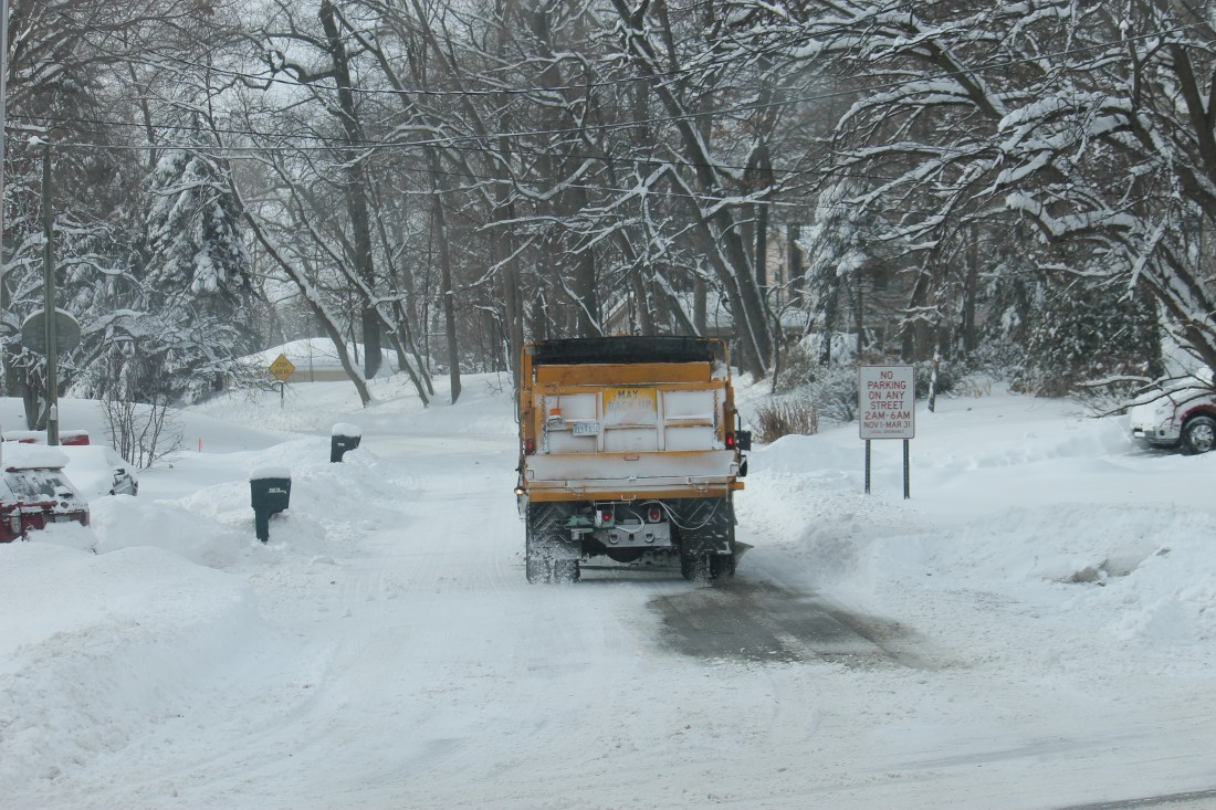 Commercial Snow Removal Company in Ann Arbor MI - Troy Clogg - truck-salting-road
