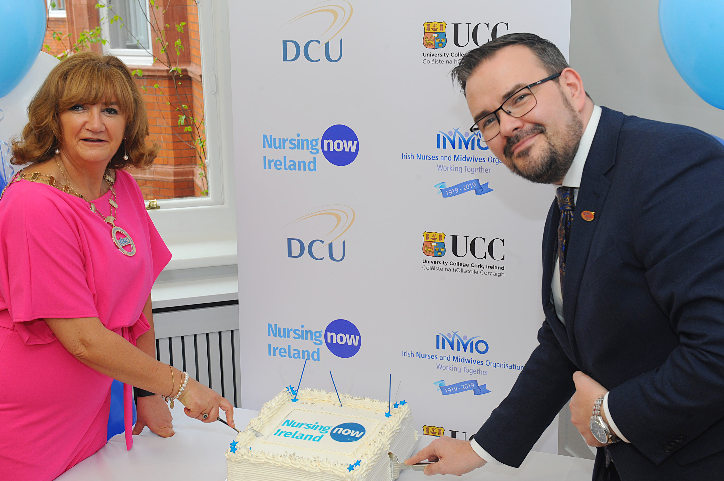 Launch day - Martina Harkin Kelly, INMO President and Dr. Edward Mathews, Director of Professional and Regulatory Services at the Nursing Now Ireland launch