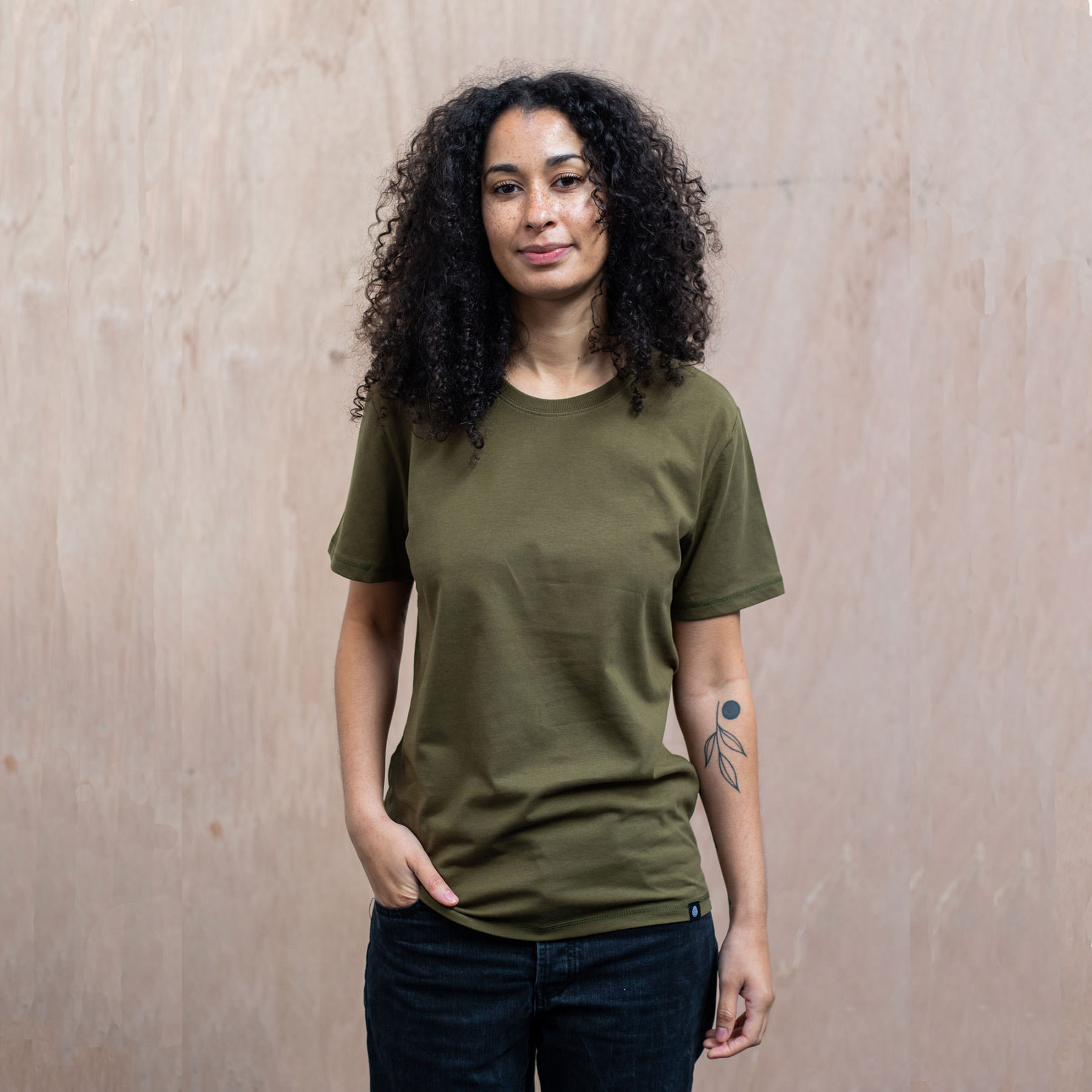 Bamford-tee-Khaki-womens-front-The-Level-Collective.jpg