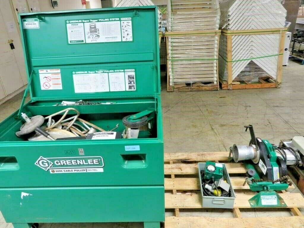 Greenlee 6001 Heavy Duty Cable Puller - Used - Super Tugger Pulling System Cable Wire Spooling Machine - Part No. 503.5997.5 - 120V AC 60HZ 15AMP 1.5 HorsepowerSale includes all accessories in the photos & handbook